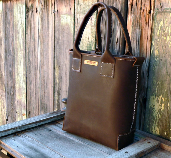 Rustic Leather Tote Bag V2 Hand stitched leather by Feral Empire