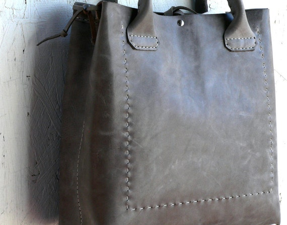 Leather Tote Bag  Hand Stitched Leather Bag