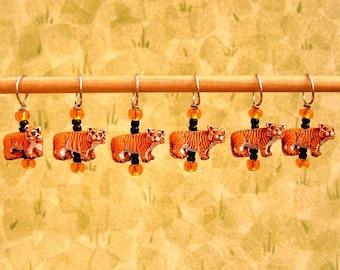 Ceramic Tiger Stitch Markers--Set of Six