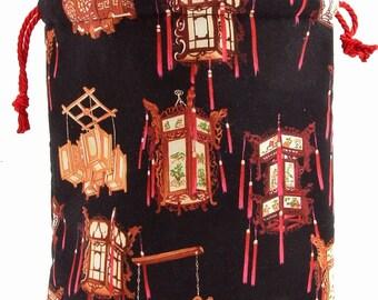 Petite Sock Project Bag--Chinese Lanterns