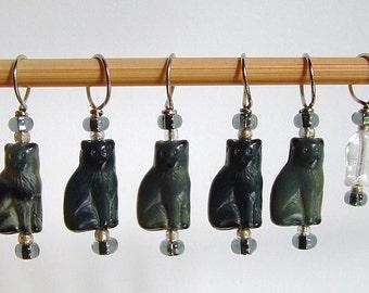 Smokey Grey Cat Stitch Markers--Set of Six