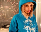 wolf hoodie, blue pullover hoodie, sapphire blue, silver wolf, wolf clothing, blue sweatshirt,  1AEON unisex Hoodie S-XXXL
