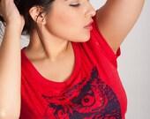 owl tee, red owl t-shirt, blue owl, womens soft shirt, soft owl shirt, womens red tee, 1AEON burnout red owl t-shirt - women's S-XXL
