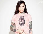 pink owl t-shirt, free shipping etsy, inked models, owl t shirt, womens owl clothing, pink t shirt, owl tee, owl t shirt, size women's S-XL