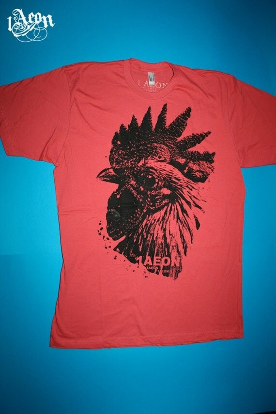 1AEON organic Pomegranate Rooster tee-size men's or unisex L - OOAK -test print