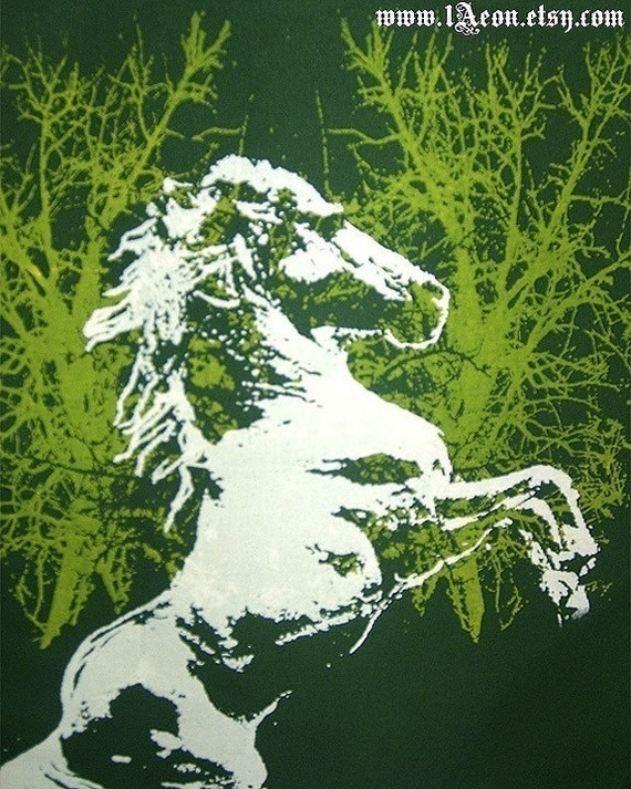 1AEON forest green tote bag with a horse unisex