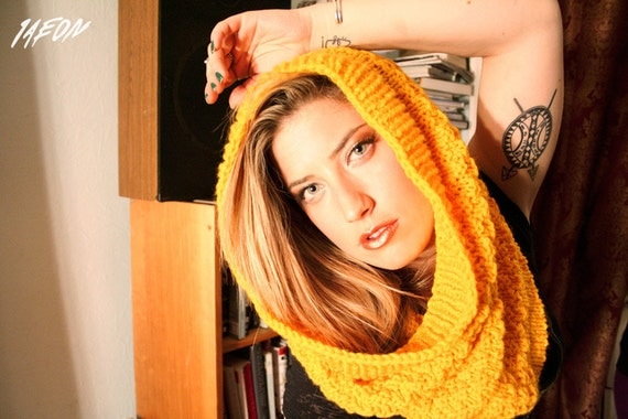soft yellow scarf, yellow scarf, circlescarf, circle scarf, 1AEON soft warm dirty yellow hand-knitted round scarf. OOAK.