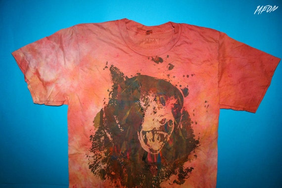dye, organic tee, etsy sale, bear, 1AEON men's OOAK hand dyed orange soft tshirt with Multicolor Bear - size S, hand dyed