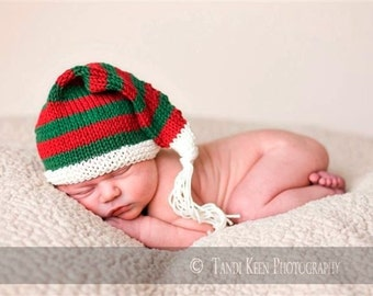 Sweet Baby Hat -Jingle Bells - Newborn to 6 Months, christmas, holiday hat, elf hat, newborn photo prop, baby shower, stocking cap