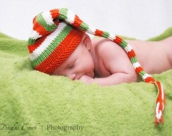 Sweet Baby Hat - Poppies - newborn to six months elf hat, newborn photo prop, baby shower, baby gift