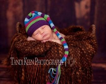 Sweet Baby Hat - Swirly Lollipop - Newborn to Six Months, elf hat, newborn photography prop, baby shower, shower gift, baby gift