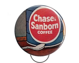 Vintage Coffee Key Chain / Bottle Opener -- Made with 1960s Ephemera -- One of a Kind