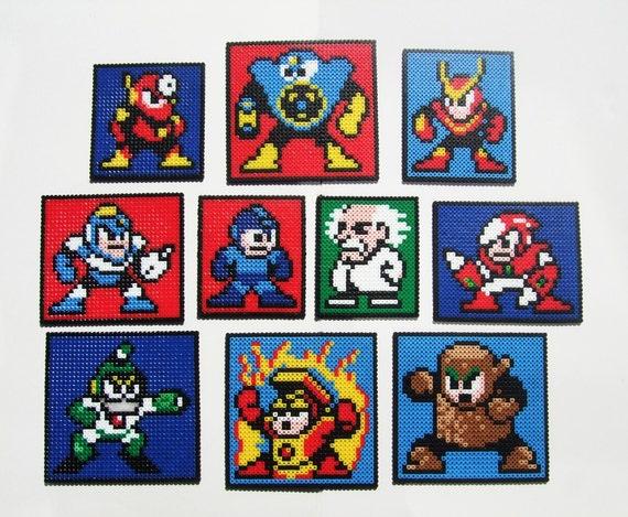 Megaman Wall Hangings - Set of 10 Megaman 2 Nintendo Perler Bead Decoration or Coaster