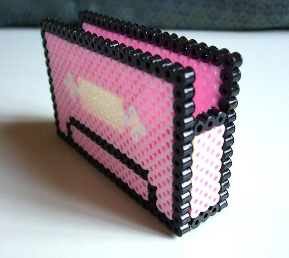 Id Card Beads: Cassette Card Holder Perler Bead 3D Pink Cassette Tape