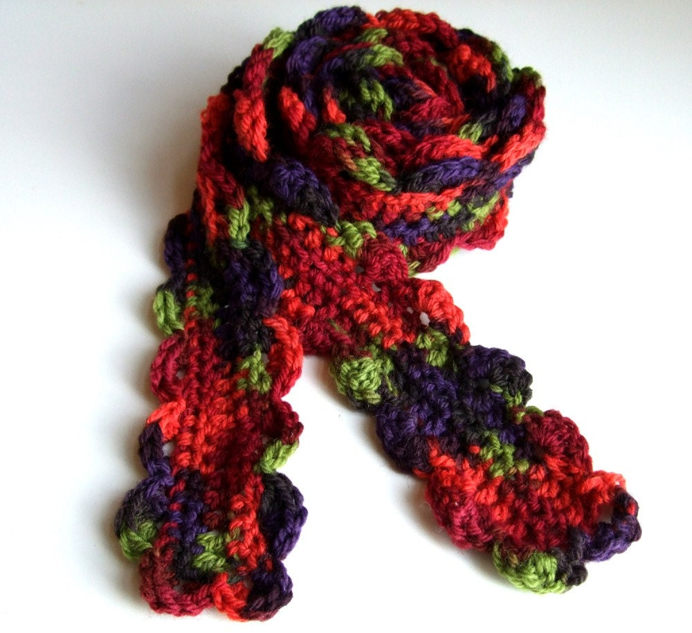 Scarf  Crochet Merino Wool Flower Scarf  Multicolored Red Orange  Crochet Flower Scarves