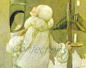 Vintage Green Tiger Press Postcard, Au Claire de la Lune, Pierrot