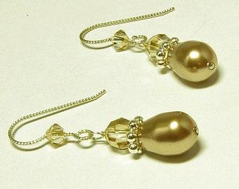 Bronze Pearl Teardrop Earrings