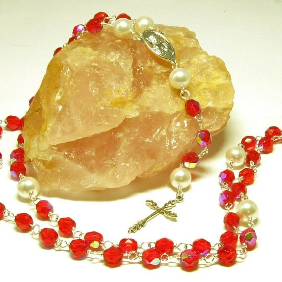 Pearl and Red Glass Rosary