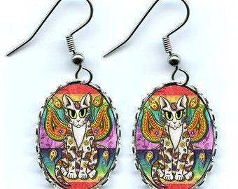Rainbow Fairy Cat Earrings Paisley Fantasy Cat Art Cameo Earrings 25x18mm Gift for Cat Lovers Jewelry