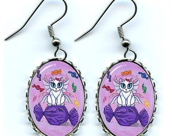 Candy Fairy Cat Earrings Hard Candy Fantasy Cat Art Cameo Earrings 25x18mm Gift for Cat Lovers Jewelry