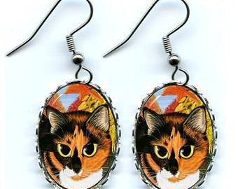 Calico Cat Fall Autumn Harvest Fantasy Cat Art Cameo Earrings 25x18mm Gift for Cat Lovers Jewelry