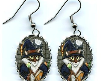Wizard Cat Merlin Magician Gothic Fantasy Cat Art Cameo Earrings 25x18mm Gift for Cat Lovers Jewelry
