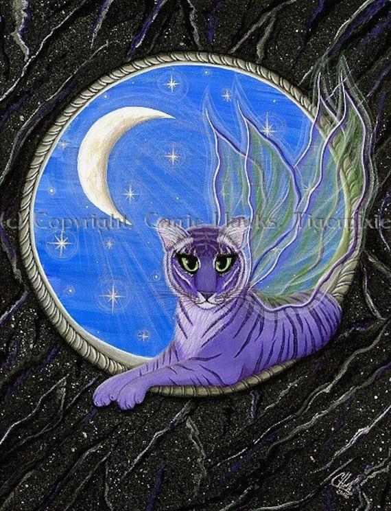Tiger Art Original Cat Painting Pixie Fairy Cat Gothic Moon Stars Fantasy Cat Art Original Canvas Painting 12x16