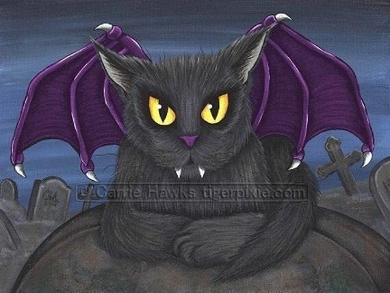 Cat Vampire Art Vlad Gothic Graveyard Fantasy Cat Art Print 8x10
