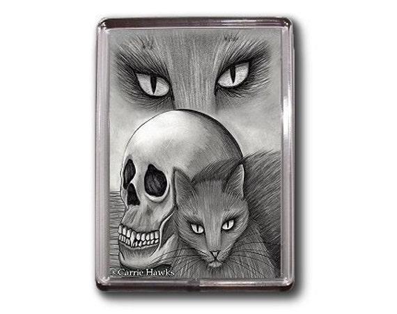 Black Cat Magnet Witch Skull Gothic Fantasy Cat Art Framed Magnet