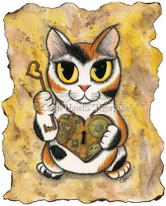 Steampunk Cat Art Valentine Victorian Heart Locket Key Fantasy Big Eye Art Fantasy Cat Art Print 5x7
