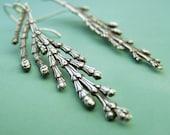 Cedar Branch Earrings in Sterling Silver - Long Dangle Earrings - Recycled Sterling Silver