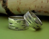 Birch Bark Wedding Rings in Sterling Silver - Set of Two - Recycled Sterling Silver