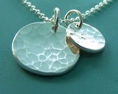 Hammered Disc Necklace with Two Charms in Sterling Silver - Small