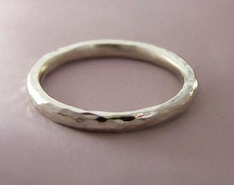 White Gold Hammered Wedding Band - Recycled 14k Palladium White Gold - 2 mm round