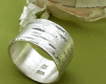 Birch Bark Ring in Sterling Silver