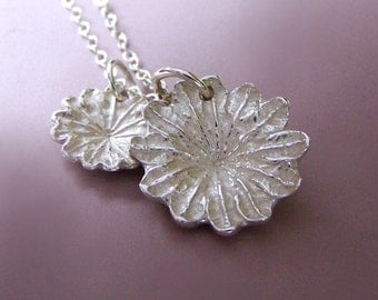 Sterling Silver Flower Necklace - Two Charms - Poppy