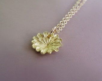 Poppy Flower Necklace in 14k Yellow Gold, Tiny Poppy Charm, Last Minute Gift, Free Shipping