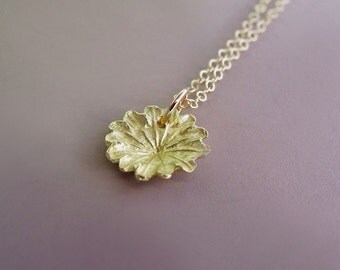 Poppy Flower Necklace in 14k Yellow Gold - Tiny Poppy Charm