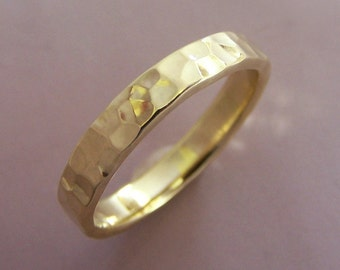 18k Yellow Gold Wedding Ring - Hand Hammered - READY TO SHIP in 3 mm size 7