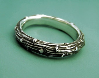Wide Twig Ring in Sterling Silver - Pine Branch - Wedding Ring Band for Men