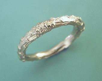 White Gold Twig Wedding Ring - 14k Palladium White Gold - Pine Branch