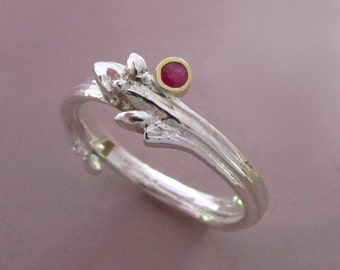 Twig Engagement Ring - Sterling Silver 18k Gold and Ruby