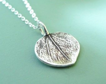 Tiny Aspen Leaf Necklace in Sterling Silver