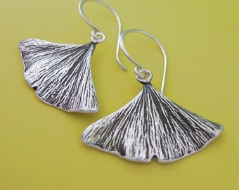 Sterling Silver Ginkgo Leaf Earrings - Medium