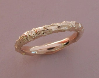 14k Rose Gold Twig Wedding Ring - Narrow Pine Branch