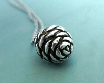 Pine Cone Necklace in Sterling Silver - Small Fir