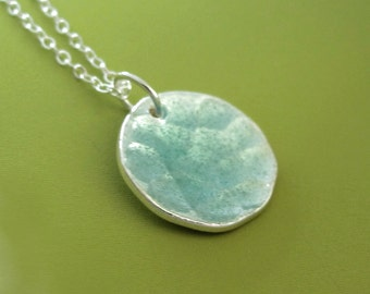 Blue Transparent Enamel and Hand Hammered Sterling Silver Necklace - Pool