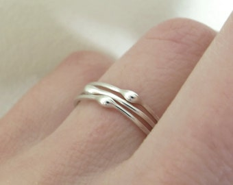 Sterling Silver Stacking Ring Set - Rain - Set of Three