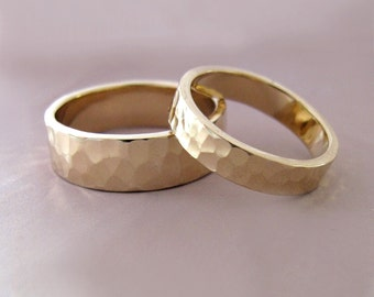 14k Gold Wedding Ring Set of Two - Hand Hammered Recycled Gold - 4 and 6 mm