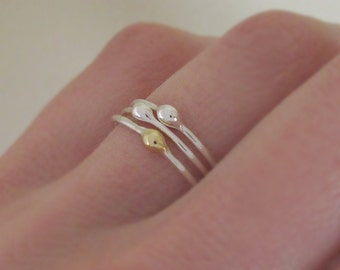 Rain Stacking Ring Set in Sterling Silver and 22k Gold - Set of Three